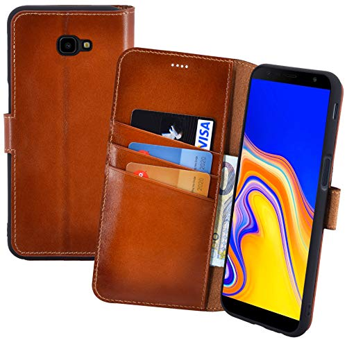 Suncase Book-Style (Slim-Fit) Leather Case Mobile Phone Case Cover (met standaard functie en kaartenvak - onbreekbare binnenschaal) voor Samsung Galaxy J4 Plus DuoS (2018), gebrand cognac