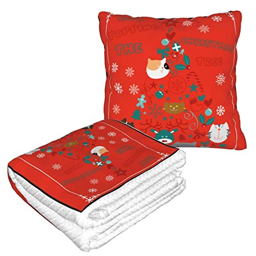 Manta suave 2 en 1 para cojín de gato, árbol de Navidad, manta de forro polar, para sala de estar, sofá, oficina, para mujeres y niños