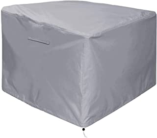 """Gas Fire Pit Cover Square - Premium Patio Outdoor Cover Heavy Duty Fabric with PVC Coating,100% Waterproof,Anti-Crack,Fits for 30 inch,31 inch,32 inch Fire Pit / Table Cover (32""""L x 32""""W x 24""""H,Gray)"""