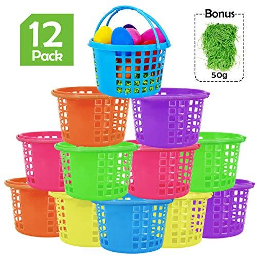 Ivenf Plastic Round Basket 12 ct with 50g Paper Shred Easter Grass, Plastic Round Gift Basket Bulk for Halloween Trick or Treat, Hunt Games, Kids School Home Office Party Supplies Decorations