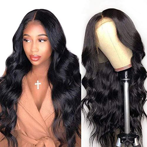 Peluca de encaje frontal VIPbeauty, 150% de densidad, sin pegamento, cabello humano virgen brasileño, recto, encaje frontal, para mujeres negras con pelo de bebé pre arrancado (22 pulgadas, color natural)