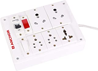 BAHUL Anchor Assembled Board with Set of 2 x 15A Anchor Sockets, 5A 2 Anchor Sockets, 13A 1 Anchor Sockets, 5A Anchor Switch, 32A 1 Anchor MVC with 4 Meter Chord Surge Protector (White)