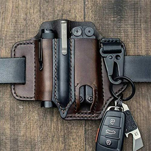 ZJXAM Multitool Lederscheide EDC Pocket Organizer - Hohe Lederqualität, EDC Belt Loop Waist Aus Echtem Leder Multitool Scheide, EDC Pouch Leder Multitool Hülle (Braun)