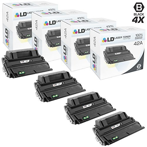 LD Compatible Toner Cartridge Replacement for HP 42A Q5942A (Black, 4-Pack)