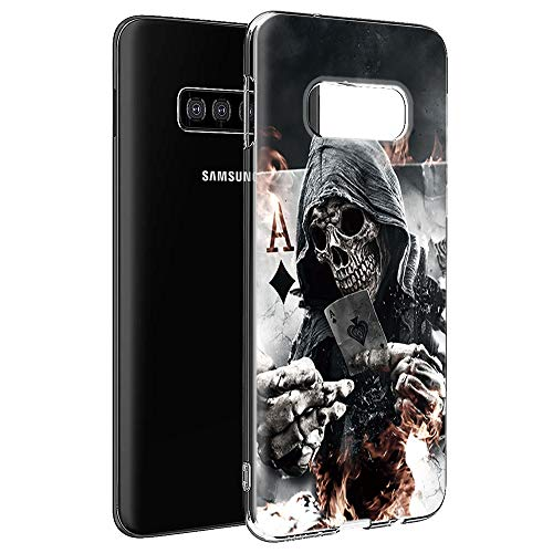 Yoedge Samsung Galaxy S10 Hülle, Silikon TPU Schutzhülle [Slim Stoßfest] Superdünn Transparent Weich Handyhülle mit Muster Motiv Bumper Hülle Cover für Samsung Galaxy S10-6,1 Zoll, Schädel