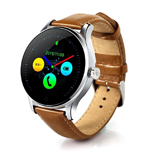Smart Watch, Transer Bluetooth intelligente orologi K88H MTK2502 C Bluetooth Smart orologi cardiofrequenzimetro traccia dell' orologio cinturino in pelle orologio da polso