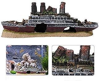 Shipwreck Aquarium Ornament, Lost Wrecked Boat Ship Resin Model Aquarium Fish Tank Decoration Accessories 27cm/10.6in