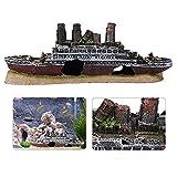 Gpzj Adorno de Acuario naufragio, Barco hundido perdido, Modelo de Resina, pecera de Acuario, exquisitos Accesorios de decoración, 27 cm / 10,6 Pulgadas