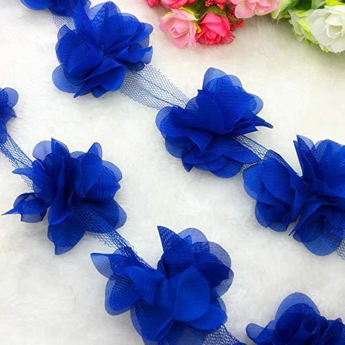 1 Yard Lace Flower Chiffon Wedding Dress Bridal Fabric Lace Trim DIY Baby Hair Band,Blue