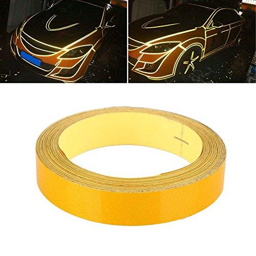 Fenghong Bandes réfléchissantes de Voiture, Bandes Lumineuses Bandes décoratives au Laser Bandes Auto réfléchissantes de sécurité Avertissement de sécurité de la Bande adhésive 1Cmx5M Jaune