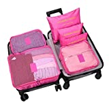 WOWTOY 6PCS Packing Cubes Value Set for Travel Luggage Organiser Bag Compression Pouches Clothes Suitcase,Rose Red