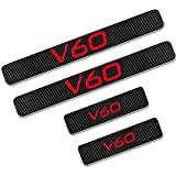 YDM 4pc Coche Puerta al Aire Libre Protección Dulce Palitos para Volvo V60, Fibra de Carbono Pedal de umbral de umbral de Protector