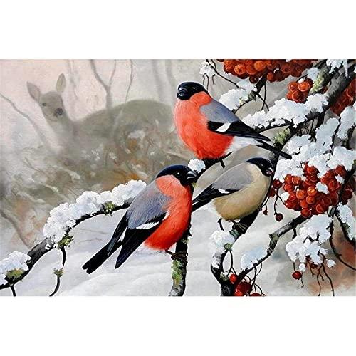 5D DIY pintura de diamante Kit completo taladro Pájaros invierno adultos niños Cristal rhinestone Bordado punto de cruz Mosaico Artesanía para decoración de la pared del hogar Square Drill,60x