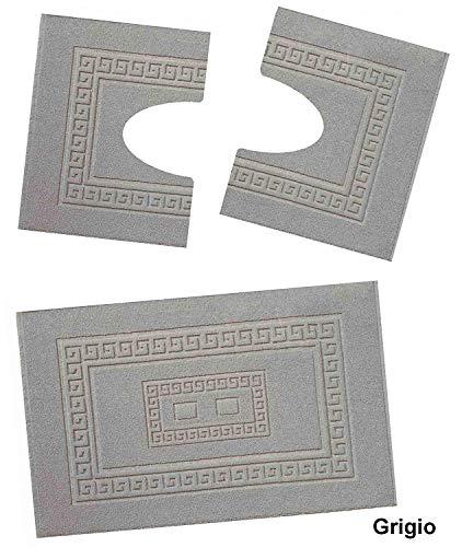 HomeIt - Set Tappeti Bagno 3 Pezzi in Cotone - Elegante Parure tappetini in Spugna: 1 Tappeto 60X90 2 Girowater/Girobidet - Lavabile Lavatrice - Made in Italy (Grigio)