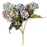 Idee con cuore, mazzo di fiori artificiali, bouquet di fiori, diversi fiori e colori, altezza 28 cm, diametro fiori di circa 3-4 cm