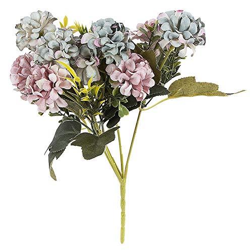 Ideen mit Herz Künstliches Blumenarrangement | Blumenstrauß | Blütenbusch | verschiede Blumen und Farben, 28 cm hoch, Blüten Ø ca. 3-4 cm (Blau, Hortensien)