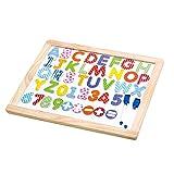 Tooky Toy Lernbrett aus Holz mit Alphabet, Zahlen und Rechenzeichen - Magnettafel buntes Lernspielzeug - ca. 45 x 35 x 1,2 cm -