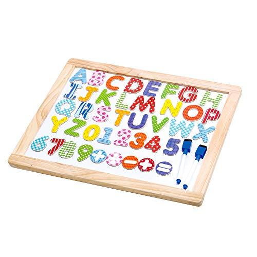 Tooky Toy Lernbrett aus Holz mit Alphatbet, Zahlen und Rechenzeichen - Magnettafel Lernspielzeug ca. 45 x 35 x 1,2 cm