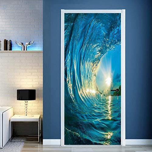 TMANQ Door Stickers For Interior Doors,95X215Cm Blue Ocean Wave Sunny Seascape Waterproof Self Adhesive 3D Baby Boys Kids Girls Children Room Bedrooms Bathroom Toilet Vinyl Home Decoration Decal Art D