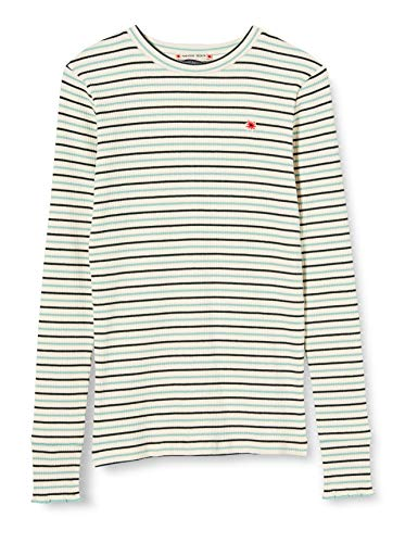 Scotch & Soda R´Belle Girls Striped l/s Tee with Ruffle at Bottom of Sleeve T-Shirt, Combo A 0217, 14