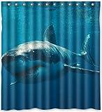 167,6x 182,9cm Zoll Great White Shark Duschvorhang New Polyester-Wasserdicht-Bad Vorhang (Dusche Ringe im lieferumfang enthalten)