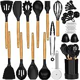 U Chef Utensilios de cocina, juego integral de espátulas, cucharones, pinzas y medidores de madera