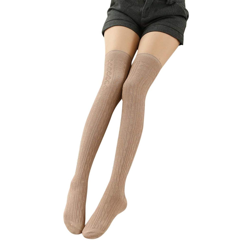 Manyao 女性の女の子の春秋の膝の長いソックスソリッドカラー編組ケーブルニットコットンストレッチ学生太ももハイストッキング暖かい8色