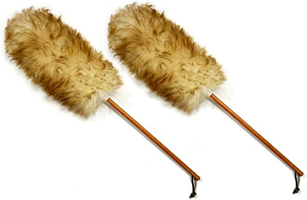 Qty 2 25 Premium Australian Lambs Wool Duster With Leather Hanging Strap