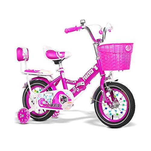 Kinderfahrräder Einräder Kinder Fahrrad 2-8 Jahre alt Fahrrad Klappsport Fahrrad im Freien Reiten Kinderwagen Mehrzweck Jungen und Mädchen Fahrrad (Color : Pink, Size : 12in)