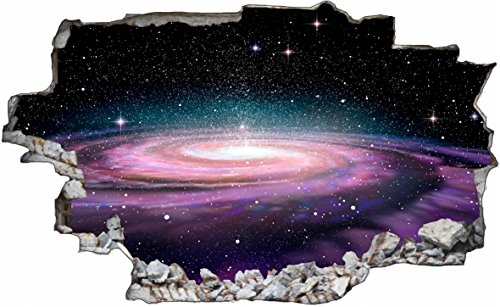 DesFoli Weltraum Erde Space Weltall Galaxy Planeten 3D Look Wandtattoo 70 x 115 cm Wand Durchbruch Wandbild Sticker Aufkleber C238