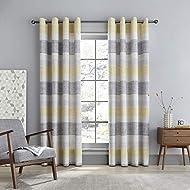Catherine Lansfield Tallin Stripe 46 x 72 Inch Eyelet Curtain Pair Ochre