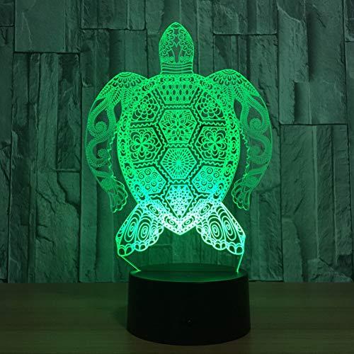 LPHMMD Nachtlampje 7 Kleur Lamp 3D Een Sterke Schildpad Visual LED Nachtlampjes Kids Touch USB Baby Slee Nachtlampje