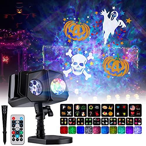 Halloween Projector Lights Outdoor, Christmas Lights Projector 26 HD Effects 3D Ocean Wave & Patterns Waterproof with RF...