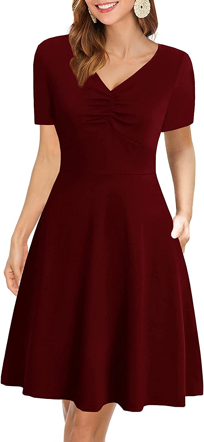 Women's Vintage Casual Party Dress Summer Short Sleeve Cotton Fit and Flare Work A Line Dresses 996