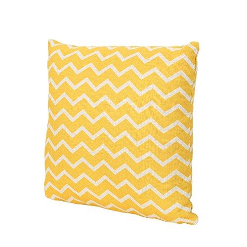 "Christopher Knight Home 305801 Mavis Lagoon Outdoor Water Resistant 18"" Square Pillow, Blue on Beige, Orange Chevron"