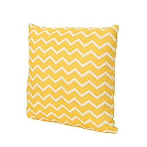 """crib bedding and baby bedding christopher knight home 305801 mavis lagoon outdoor water resistant 18"""" square pillow, blue on beige, orange chevron"""