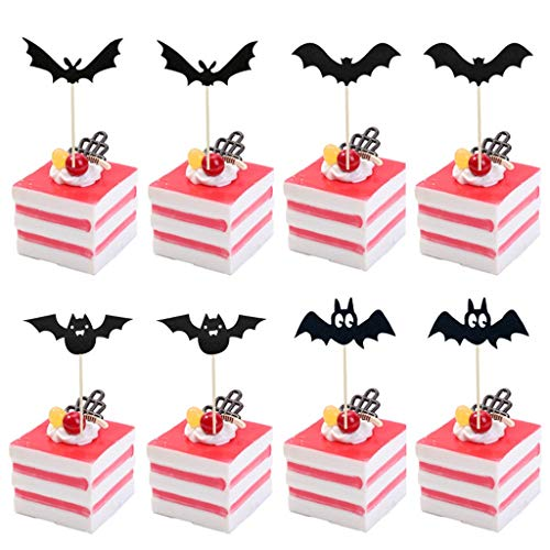 TIANXIN 8PCS Halloween Decoration Cake Topper, Halloween Spider Cake Insert, Party Supplies, Halloween Funny Cake Insert, Cake Crow Shape Insert Card