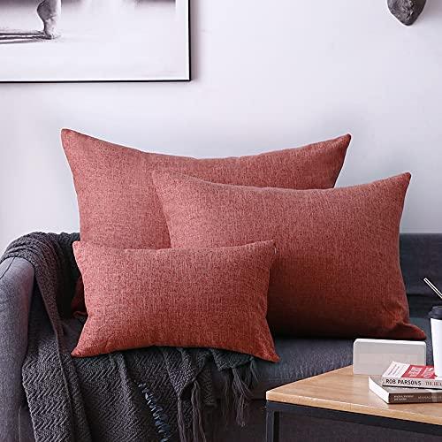 MRBJC Almohadas estilo nórdico lino espesar cojín decorativo cuadrado almohada con almohada para sofá sala sofá cama rojo 50x70cm