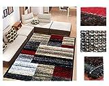 Alfombra de Salón Frise Pelo Largo Tupido Rectangulos Geometricos Modernos Color (Rojo, 160_x_210 CM)