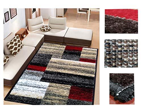 Alfombra de Salón Frise Pelo Largo Tupido Rectangulos Geometricos Modernos Color (Rojo, 184_x_260 CM)