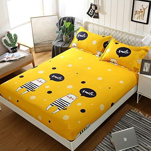 Sábana Bajera elástica de,Sábanas Ajustables cepilladas Suaves y cómodas, Dormitorio Casa de Familia Protector de colchón Impreso para Cama Doble Individual LL 120 * 200cm