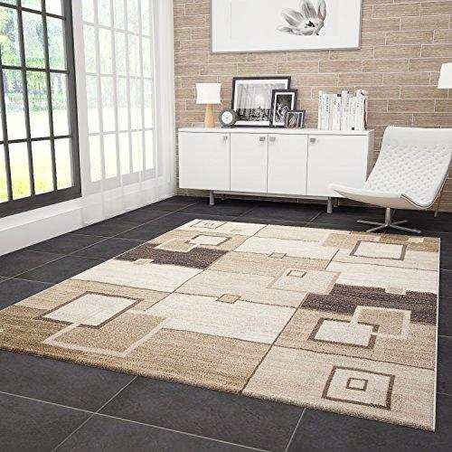 VIMODA Designer Teppich Gemustert Strapazierfähig in Braun, Maße:160 x 230 cm