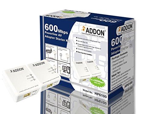 Addon HP6100 600Mbps Powerline AV - Kit di avviamento adattatore AV - Homeplug AV