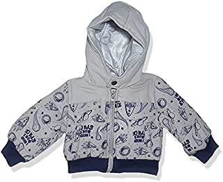 Giggles Two-Tone Patterned Long-Sleeves Contrast Ribbed Trim Zip-Up Hooded Jacket for Boys