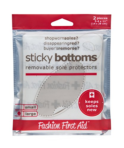 Fashion First Aid Sticky Bottoms: removable sole protectors, clear (4 pieces small: 4 x 5 inches)