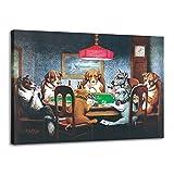 Impresiones en lienzo Arte de la pared Imágenes de animales, Perros de dibujos animados jugando al póker Pinturas de lienzo modernas Póster para la decoración del dormitorio de la sala de estar de