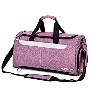Sports Gym Bag by POPRUN, Workout Duffel Bag with Shoes Compartment & Wet Pocket for Men and Women – Durable Water Resistant, 21″