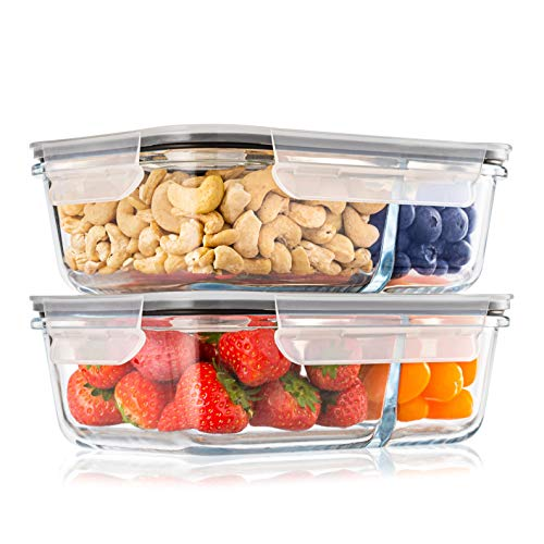 Lot de 2 Boite Repas Verre Lunch Box, 2 Compartiments Hermetiques, Taille XL 1040 ML - Boite Repas Bento Box en Verre et sans BPA - Meal Prep Cuisson, Conservation, Congelation Alimentaire