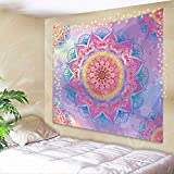AMBZEK Girls Mandala Tapestry Colorful Rainbow 51Hx59W Inch for Kids Teen Cute Pastel Pink Gradual Change Bright Boho Hippie Floral Psychedelic Art Wall Hanging Bedroom Living Room Dorm Decor Fabric