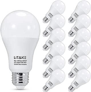 Litake A19 LED Light Bulbs 150 Watt Equivalent, 1600 Lumens, 5000 Kelvin, E26 LED Light Bulbs Daylight White, No Flicker, Non-Dimmable,12-Pack
